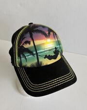 💛 Men's Disney Parks Mickey Mouse Hammock with Sunset Trucker Hat Cap Snapback
