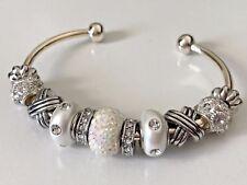 European Style Bangle Charm Bracelet with White Crystal and Rhinestone Beads