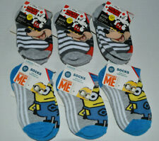 Lot 6 Pair Minion Despicable/Mickey Mouse Toddler Boy Socks Size 6-7.5 Shoe 8-10
