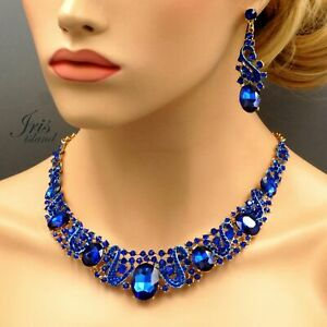 Pageant Gold Plated GP Sapphire Blue Crystal Necklace Earrings Jewelry Set 08311