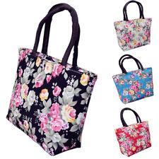 EG _ Rose Blume Damen Leinen groß Kapazität Einkauf Handtasche Tote