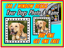 PERSONALISED DOG PHOTO & NAME - FUN CAR / WINDOW INSIDE STICKER + 1 FREE / GIFTS