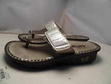 Alegria Big Girls / Youths 3 Carina Silver & Glitter Flip Flops Sandals Thongs
