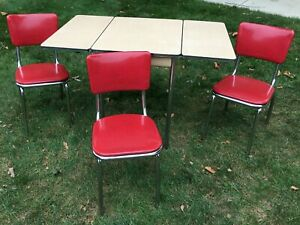 1950s Chromecraft Chrome and Vinyl Breakfast Table and Chairs