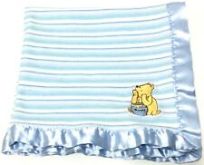 Classic Pooh Blue White Stripe Security Blanket Lovey Baby Satin Trim Cotton