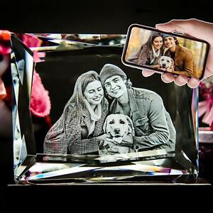 3D Photo Crystal Multi-Faced Custom Laser Etched Print Personalized Engraved