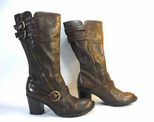 lovely BORN brown double zip mid calf boots with brass buckles 8