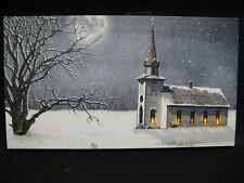Church Candles Winter Flickering Lighted Canvas Home Decor Wall Windows Light Up