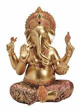Ganesha / Ganesh Buddha Figur Hindu gold mit Stoff rot sitzend Lotus Neu 19 cm