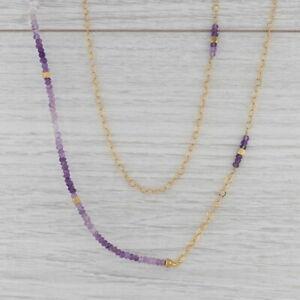 "New Nina Nguyen Amethyst Bead Necklace Sterling Gold Vermeil 39"" Adjustable"