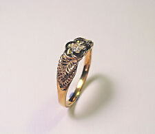14 KT SOLID YELLOW GOLD ROSE  FLOWER LEAF RING  WITH DIAMOND SZ 10.5  NOT SCRAP