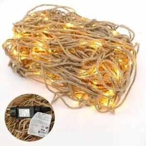 Fischernetz 250x250cm aus Seilen beleuchtet Deko LED-Netz IP44 innen außen