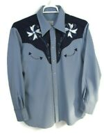 Vtg H Bar C California Ranchwear Western Pearl Snap shirt sz L Blue Embroidered