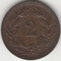 1903 B Switzerland 2 Rappen Coin | Pennies2Pounds