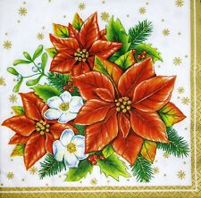 3 x Single Paper Napkins For Decoupage Craft Tissue Christmas Star Flowers M146