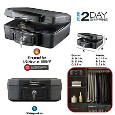 Money Document Storage Box Fire Resistant Chest Key Lock Fireproof Safety Safe
