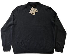 NWT $249 Black Brown 1826 100% Cashmere Collared Sweater - Dusty Blue Heather XL