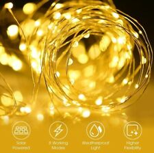 Solar LED String Lights Waterproof Wire Battery USB Fairy Light Party Home Decor