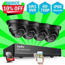 SANNCE 8Channel 1080N 5IN1 DVR 720P HD IR Cut CCTV Security Camera System 1TB UK
