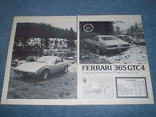 "1973 Ferrari 365 GTC4 Vintage Road Test Info Article ""...152mph & Costs $27,500"