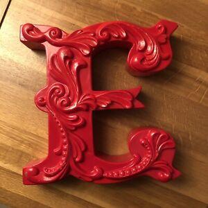 """Retro Red Plastic Letter E Monogram Initial  7 3/4"""""""