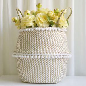 New Laundry Belly Basket Flower Plants Pots With Pom Pom Trim Home Garden Decor