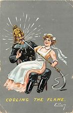 POSTCARD  COMIC   Fireman    Related   Cooling  the  flame        ELLAM