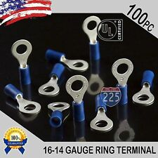 """100 PACK 16-14 Gauge 1/4"""" Stud Insulated Vinyl Ring Terminals Tin Copper Core US"""
