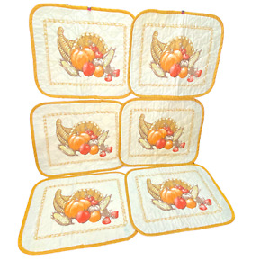 6 Vintage Quilted Thanksgiving Fall Placemats Pumpkins Grapes Corn Cornucopia