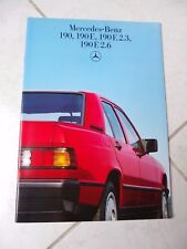 Mercedes 190 190E 190E 2.3 190E 2.6 W201 1986 catálogo folleto prospekt