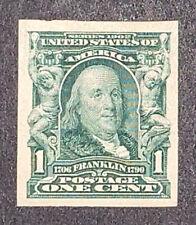 Travelstamps: 1906-1908 US Stamps Scott #314 Wmk Imperf 1 Cent Franklin
