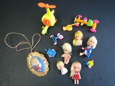 MATTEL KIDDLE COLLECTION 13 PIECES, 1966 LUCKY LOCKET, 5 KIDDLE DOLLS, HELICPTER