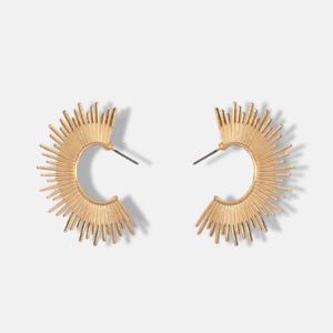 Sun Gold Pattern Carved Sunshine Statement Hoop Earrings. Boho Topshop Jewellery