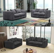Hygena 3 + 2 Seater Sofa Set Jumbo Cord Fabric Grey Black Chocolate Cream