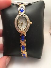 Women's Elgin Analog Dress Watch Gold Tone Blue Crystal Accents-EG9042 H96
