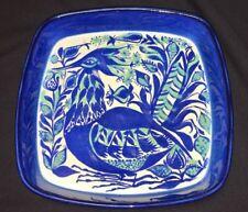 Vintage Denmark Royal Copenhagen Fajance Peacock Bird Pottery Platter Signed MJ