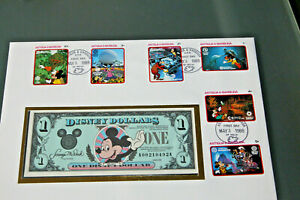 ANTIGUA & BARBUDA 1988 EPCOT FIRST DAY COVER WITH 1 DISNEY DOLLAR ENCAPSULATED