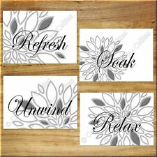 Gray White Bathroom Wall Art Print Picture Dahlia Floral Modern Relax Soak Quote