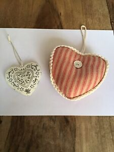 Set Of 2 Shabby Chic Hanging Hearts