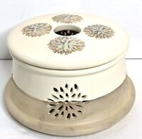 Yankee Candle Votive Tealight Holder Luminary Rustic Stoneware Crock With Lid