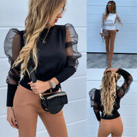 Women Mesh Sheer Puff Sleeve Turtleneck Tops Long Sleeve Sexy T Shirts Blo pw