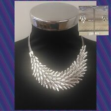 Silver Lagenlook Chunky Feather Necklace And Earring Set Metal Fashion Uk Seller