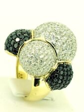 NATURAL WHITE BLACK DIAMONDS BUBBLE RING 18kt yellow gold  TCW 7.09 cocktail