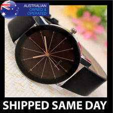 ES FASHION DRESS WATCH Womens Mens Ladies Faux Leather Army Military Gold  13