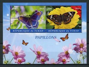 Chad 2018 MNH Butterflies 2v M/S Butterfly Insects Stamps
