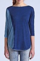 Diesel-ELNATH-A Tank Top Women's Blue 3/4 Sleeve Top Size XS 100% Cotton (F409)