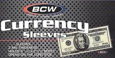 50 Currency Sleeves - Money Holders - Regular Dollar Bill  SSLV-RB  BCW NEW