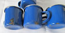 4 Child's Vintage Enamelware Blue Cups