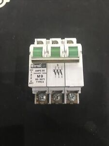 Ottermill System T  20 Amp Triple Pole MCB Type 3/C  M9 BS 3871 * USED *