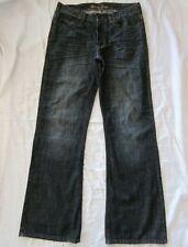 GUESS Men's 33 x 34.5 Loose Boot Cut Dark Wash 100% Cotton 5-Pocket Denim Jeans